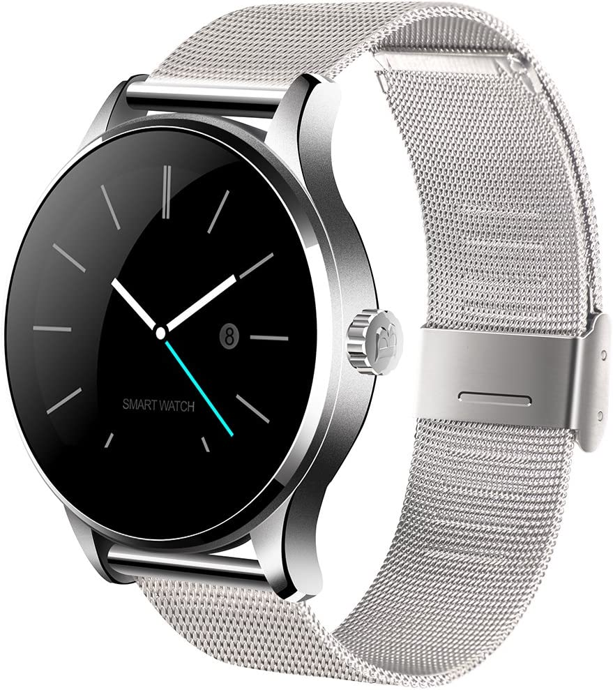 SMA-09 Smart Watch for Men Activity Tracker Heart Rate Monitor Fitness Tracker (Silver-SS)