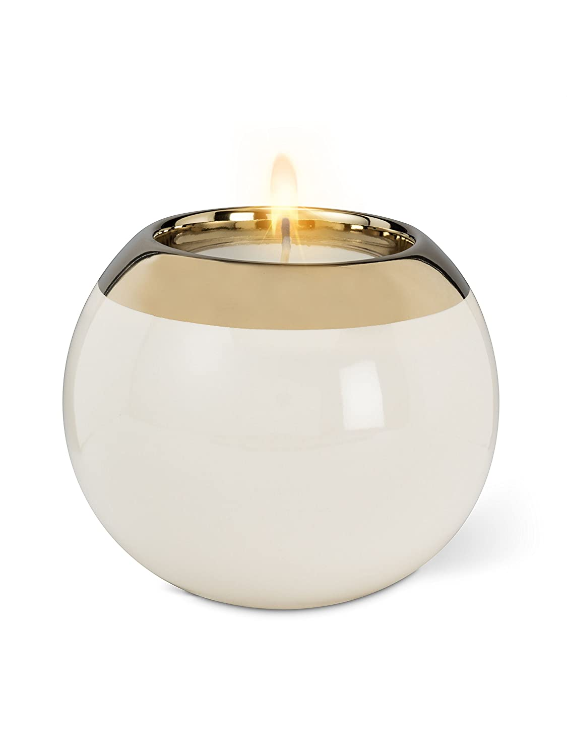 Ivory Stoneware Large Ball Tealight Tea Light Votive With Wide Band 4 Diameter