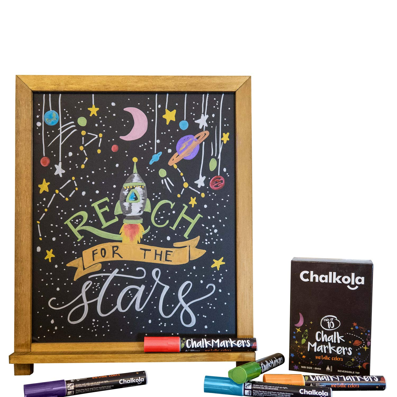 Metallic Chalk Markers - Pack of 10 Liquid Chalk Pens - for Chalkboard, Blackboard, Cafe Menu, Business, Window - Wet Wipe Erasable - 6mm Reversible Bullet & Chisel Tip by Chalkola (Image #6)