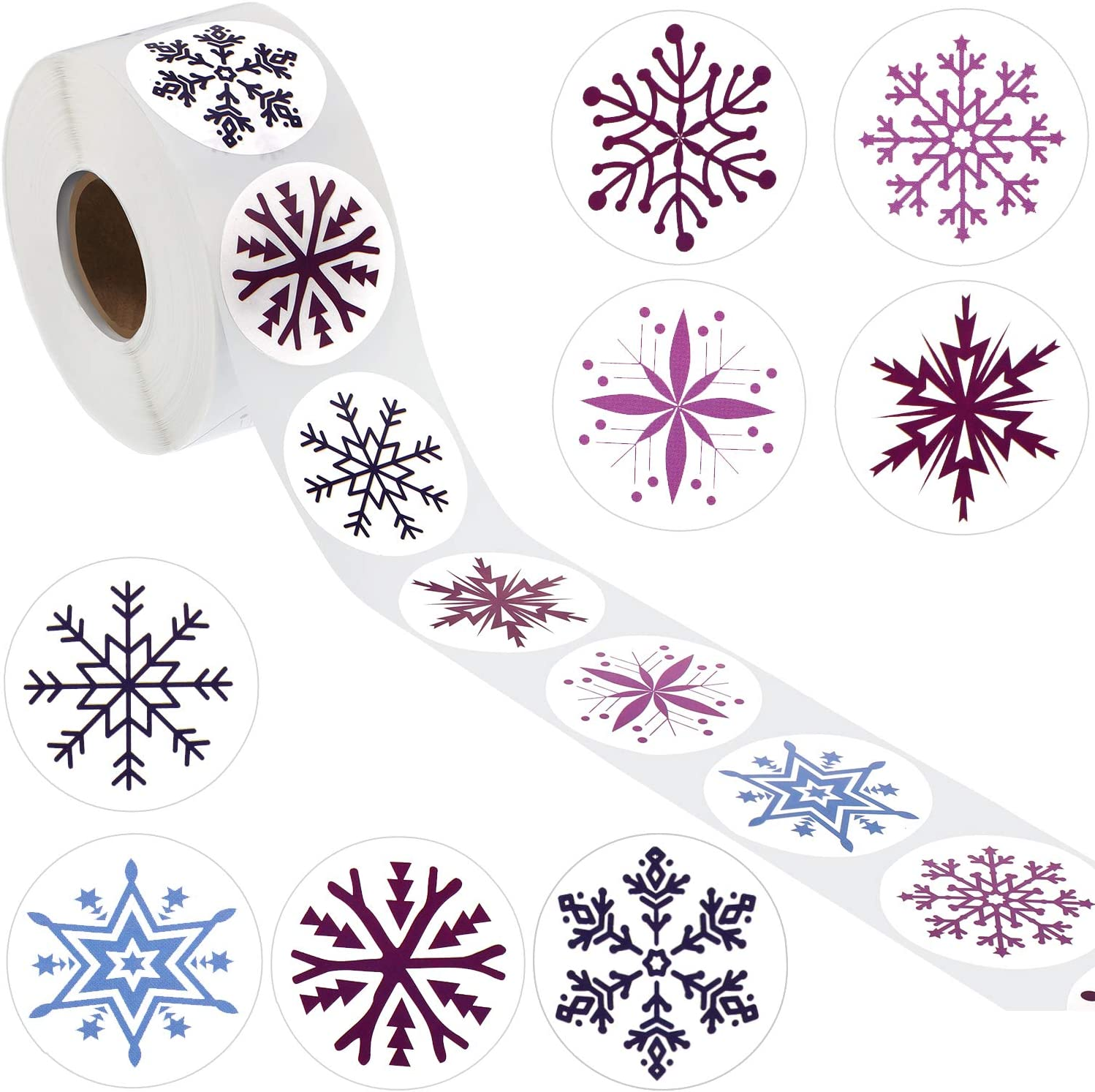 Outus 800 Pieces Snowflake Stickers Christmas Snowflake Decals Winter Snowflake Sealing Stickers Round Circle Labels for Christmas Decoration 1 Roll, 8 Styles
