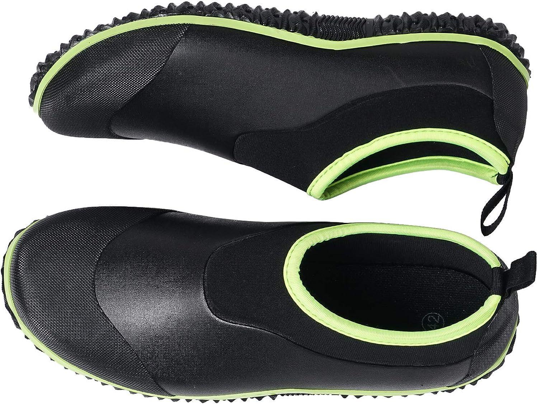 Unisex Garden Shoes Ankle Rain Boots Waterproof Mud Rubber Slip-On Shoes for Women Men Outdoor