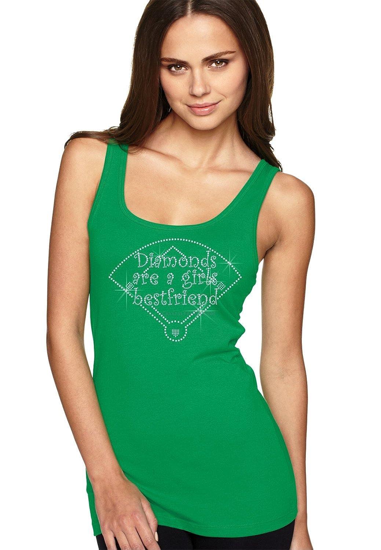 bling rhinestone ''Diamonds Are A Girls Best Friends''. Next Level Woman Jersey Tank. Crystal Heat Transfer motif apparel.