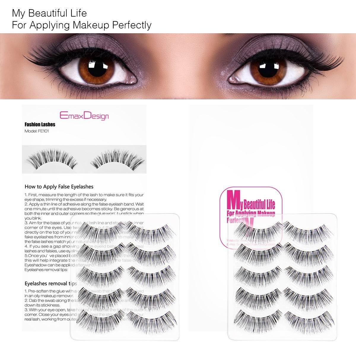 Amazon Emaxdesign 10 Pairs Fake Eyelashes Multipack Natural