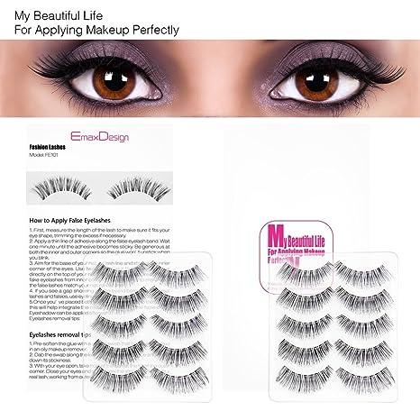 02c22aad424 Amazon.com : EmaxDesign 10 Pairs Fake Eyelashes, Multipack Natural 3D False  Eyelashes - Fashion Eyelashes Extension For Makeup. : Beauty