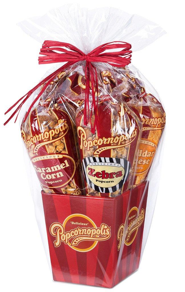 Popcornopolis Gourmet Popcorn 5 cone Gift Basket - Premium by Popcornopolis (Image #1)