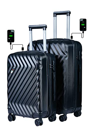 0388c8088 3G ABS Set Of 2 Black Hard Sided Luggage Set(20 Inch and 24 Inch ...