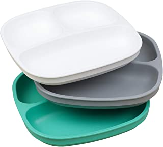 product image for Re-Play Made in The USA 3pk Toddler Feeding Divided Plates with Deep Sides for Easy Baby, Toddler, Child Feeding (Aqua/Grey/White)