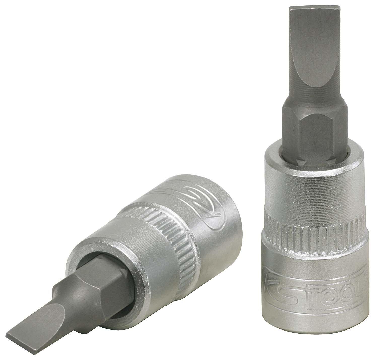 KS Tools '1/4 Inch Slotted Bit Socket 5.5 mm Matt Chrome-Plated on Hanger 4042146104989