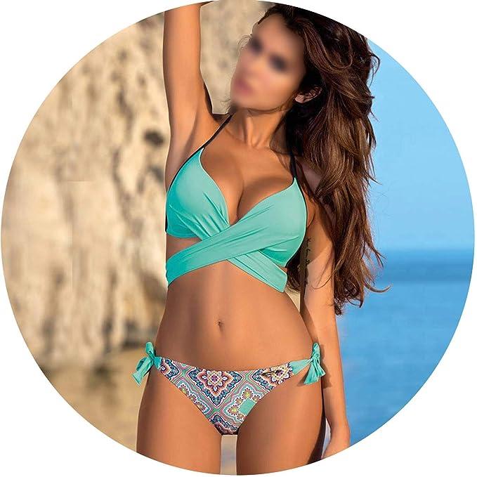 a1e9275e9a55a Amazon.com: Push Up Bikini 2019 Cross Patchwork Women Swimwear Swimsuit  Halter Top Print Maillot Biquini Bathing Suits,Green Print,L: Clothing