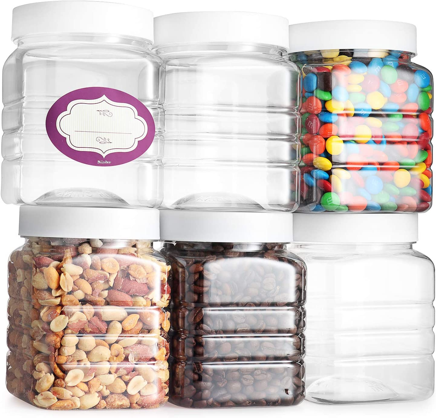 Pack of 6 - Clear Empty Plastic Storage Containers with Lids - Square Pantry Containers - 32 Oz Jars with Air Tight Lids and Labels – BPA Free Plastic Jar - Paint Storage Containers