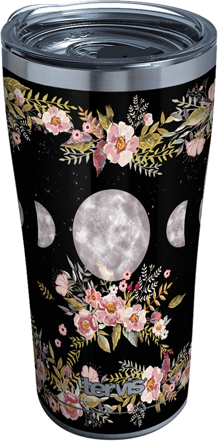 Tervis 1363730 Floral Moon Phases Insulated Tumbler, 20oz, Stainless Steel