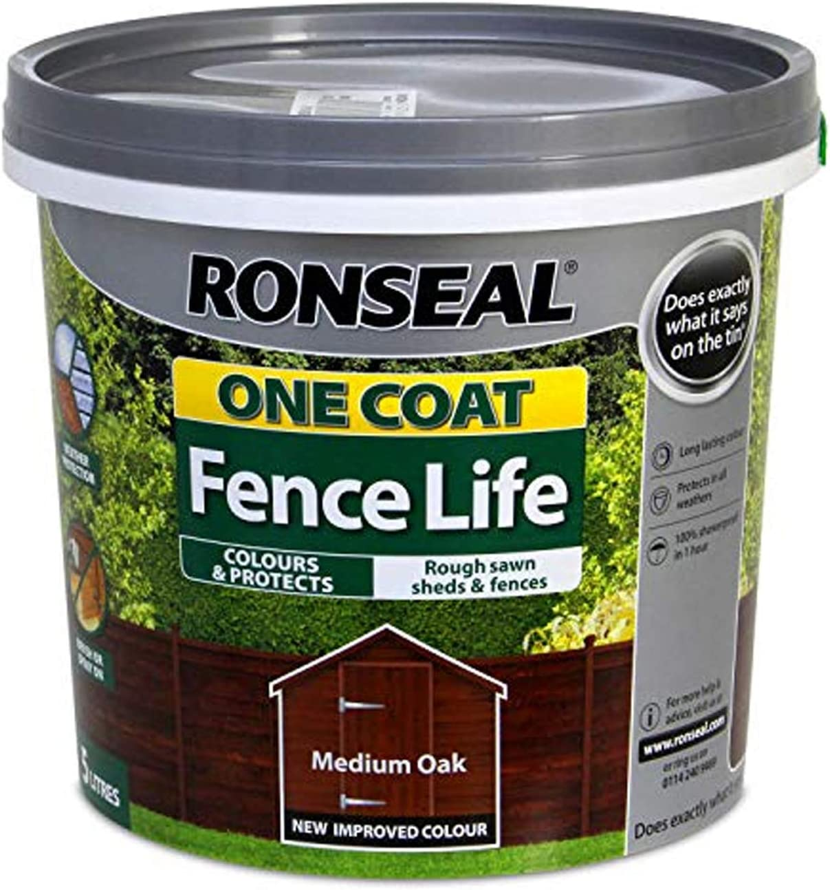 Ronseal RSLOCFLMO5L One Coat Fence Life, Medium Oak, 5 Litre