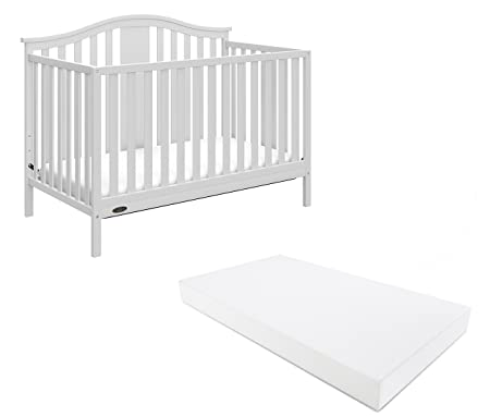 Graco Solano 4-in-1 Convertible Crib With Mattress, White, Converts to Toddler Bed Day Bed or Full Bed,...