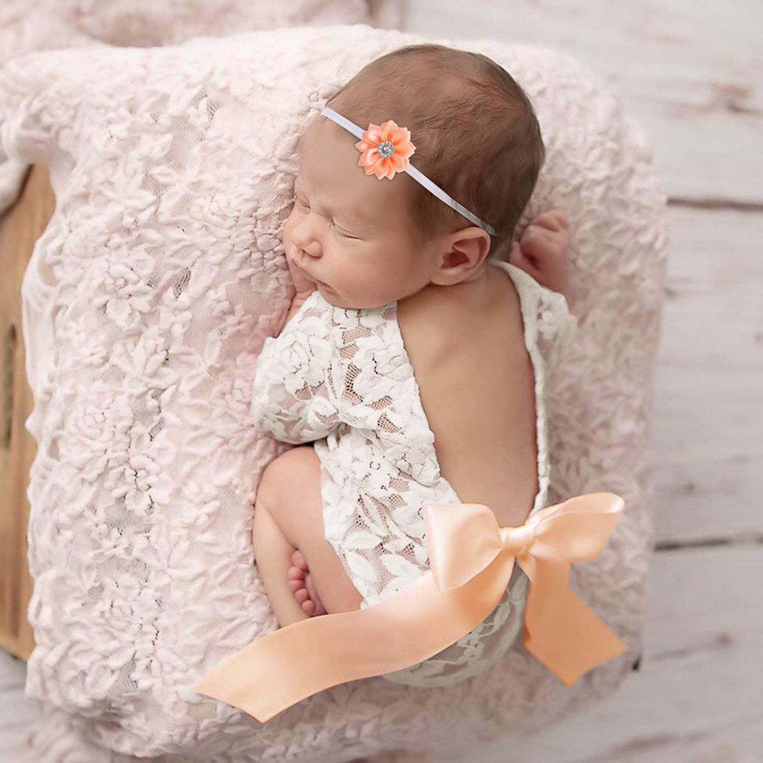 Baby Girl Accessories Big Bow Lace Romper Bodysuit Newborn Photography Props