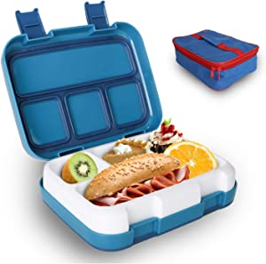 Kids Lunch Box, Childrens Bento Box BPA-Free and Food-Safe Materials, Lunch Container with Spoon 4-Compartment Leak Proof Removable Tray for School Picnics Travel (Includes a Free Bento box bag)