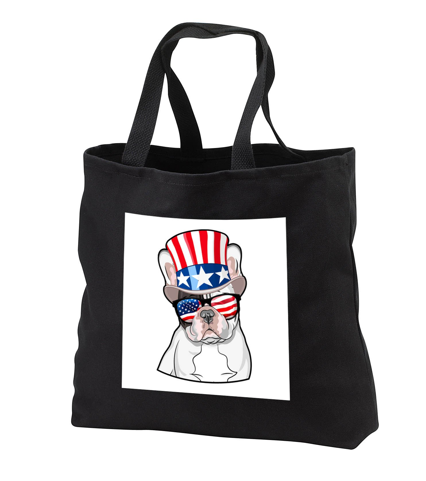 Patriotic American Dogs - French Bulldog With American Flag Sunglasses and Top hat - Tote Bags - Black Tote Bag JUMBO 20w x 15h x 5d (tb_282705_3)