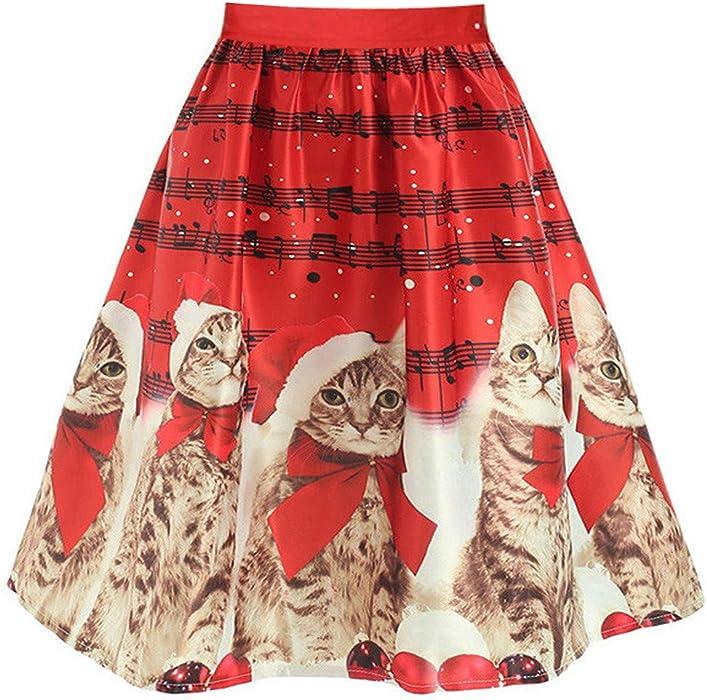 Mujeres ImpresióN Gato Foto De Animal Navidad Flare Falda Cintura ...