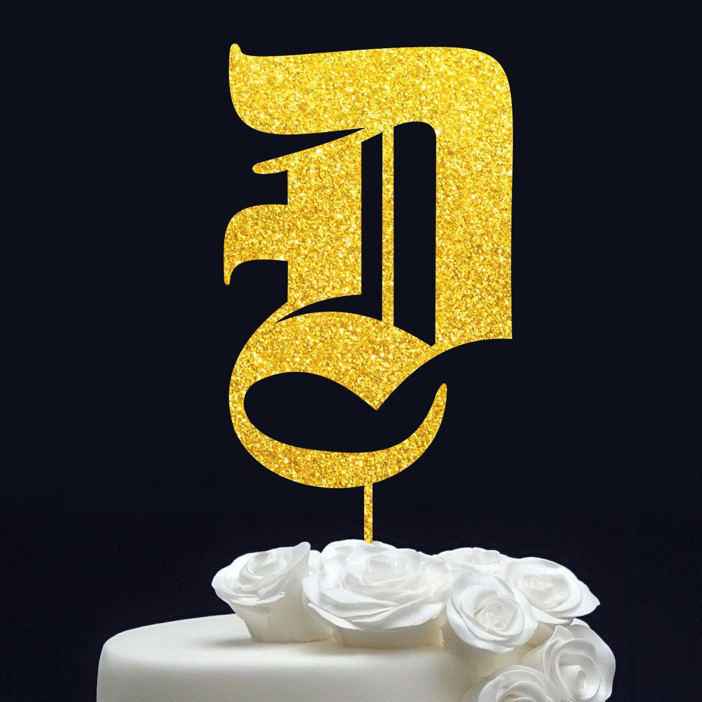 Amazon.com: WEDDING CAKE TOPPER // Monogram Cake Topper Gold ...