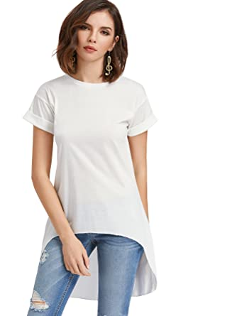 6d8c02936839 ROMWE Women s Basic Solid Short Sleeve Dip Hem Tunic Loose T-Shirt Tops  White S