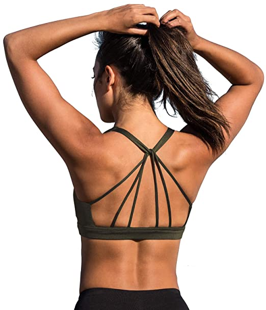 17398b29707a8a icyzone Padded Strappy Sports Bra Yoga Tops Activewear Workout Clothes for  Women (S, Army