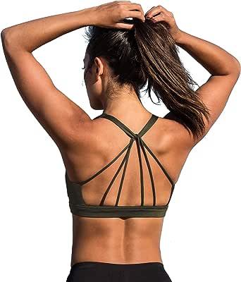 Jinsen Sports Bras for Women Strappy Padded Workout Yoga Tops Bra js0022