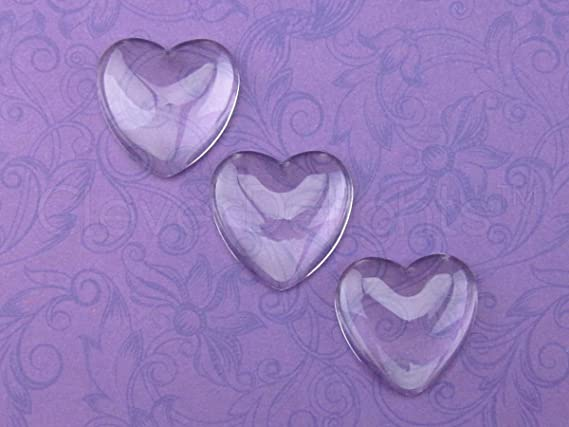 5x Hearts Cabochons 182025mm Set 10