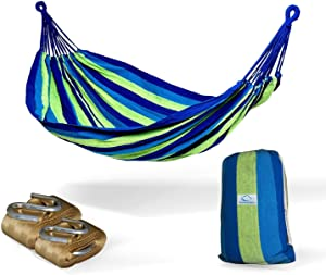 Hammock Sky Brazilian Double Hammock (Blue and Green Stripes) with Tree Straps (Gold) - Two Person Hammock with Best Extra Long Hanging Straps 2 Pack