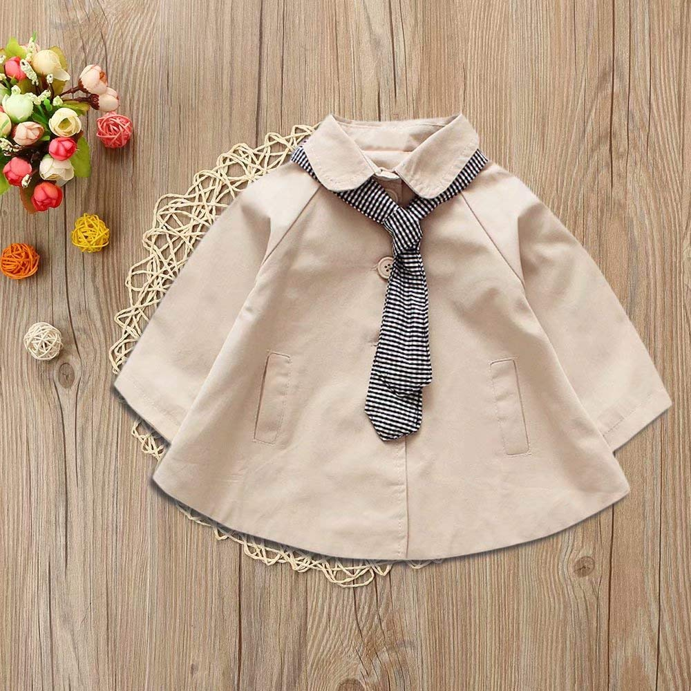 Toddler Children Baby Girls Plaid Tie Jacket Outerwear Tops Casual Clothes Coat