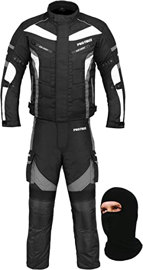 Mr.Pro A Full Set of Waterproof Motorbike Motorcycle Moped 2 Piece Suit in Cordura Fabric and CE Approved Armour Balaclava Trouser Jacket Gloves Racing Touring Events Boots