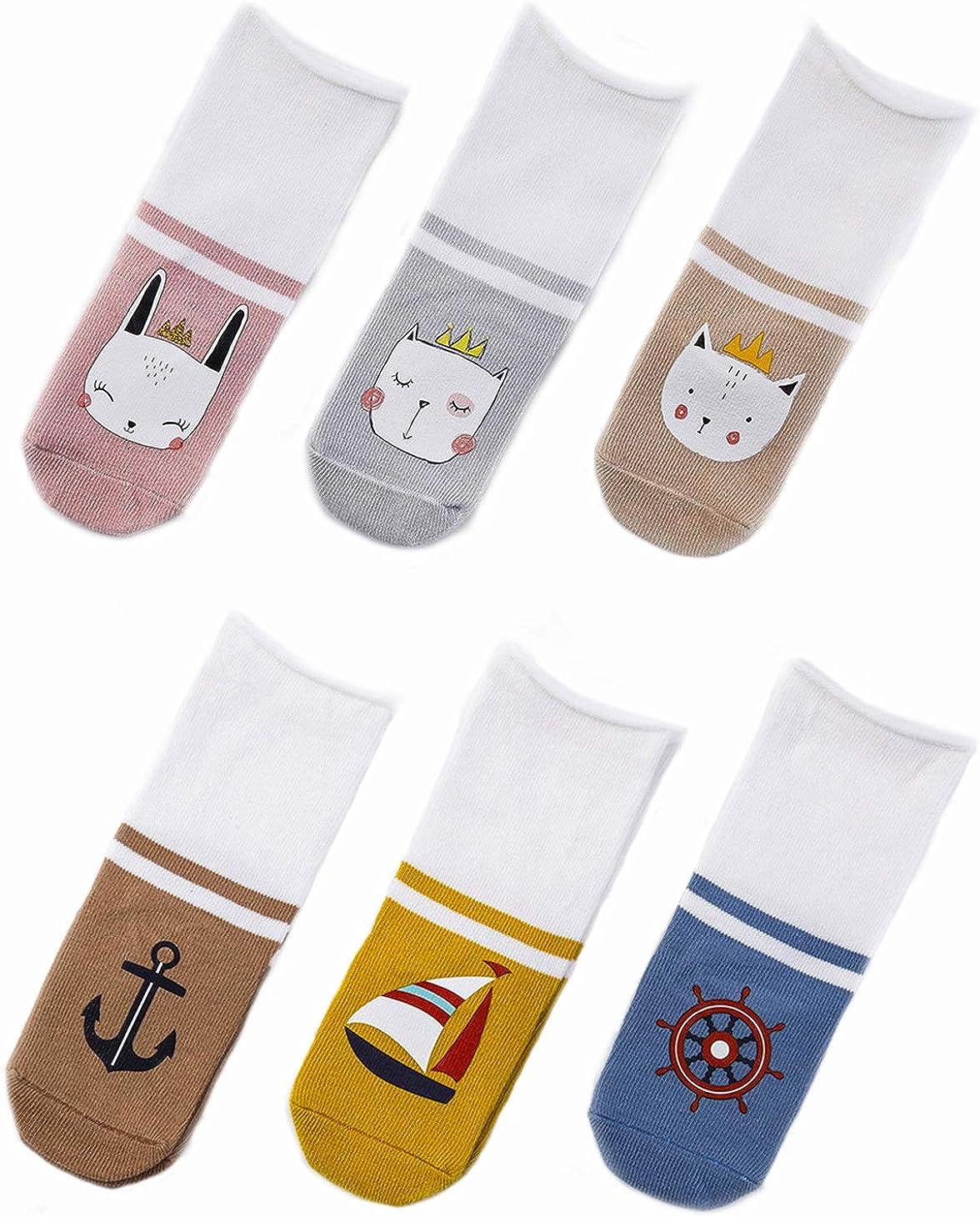 6-Pack Unisex Socks Baby Knee High Stockings Newborn Knee High Socks