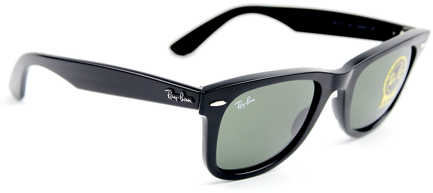 72459654e0 Amazon.com  Ray-Ban RB2140 901 54mm Wayfarer Sunglasses Black   Crystal  Green Lens  Clothing