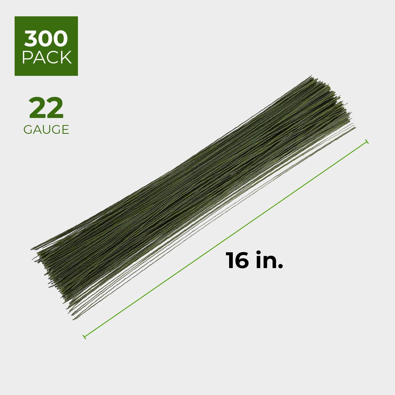 300-Piece Floral Wire 20 ga Dark Green Flower Wire 20 Gauge Floral Stem Wire for Florist Flower Arrangement 16 Inches in Length