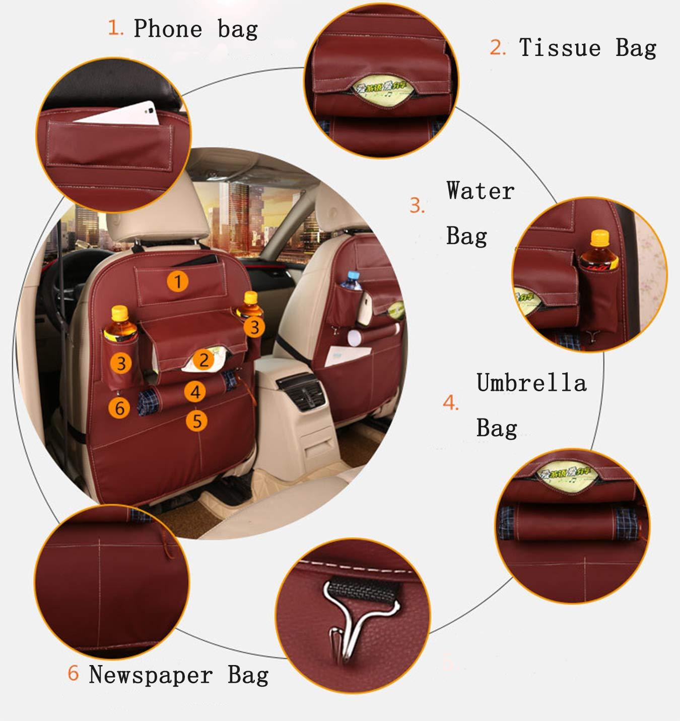 PULUSI Car Back Seat Organiser 1 Pack Waterproof PU Leather Car Basket Multifunction Car Storage Bag with Table Holder for Travel Storage Fabric Bottles Black