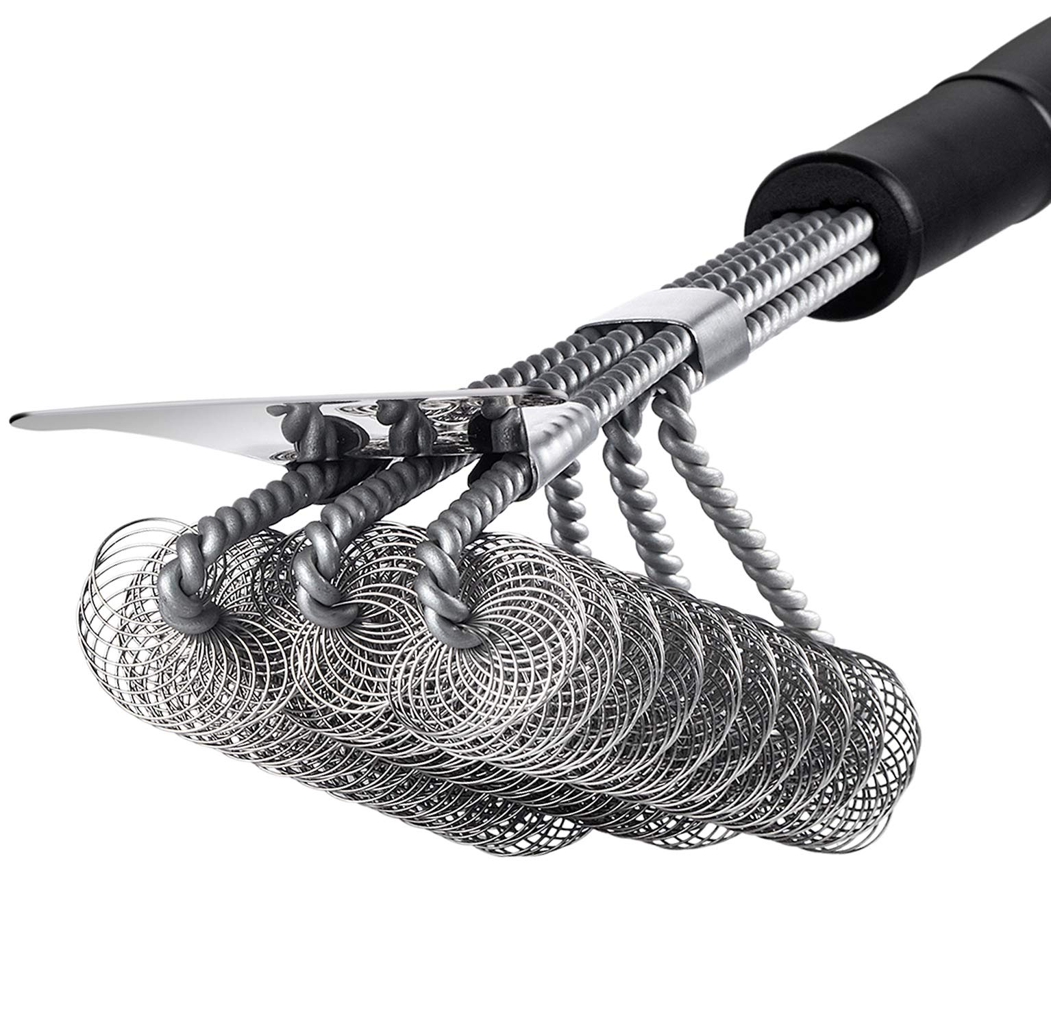 Z&Y Clean Grill Brush and Scraper, Bristle Free Barbecue Brush,Safe Premium 18 inch 100% Rust Resistant Stainless Steel BBQ Grill Cleaning Brush - Great Grill Accessories Gift