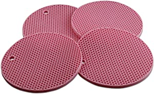 Lucky Plus Round Silicone Trivets Mats for Hot Dishes and Hot Pots, Hot Pads for Countertops, Tables, Pot Holders, Spoon Rest Place Mats Set of 4 Color Pink