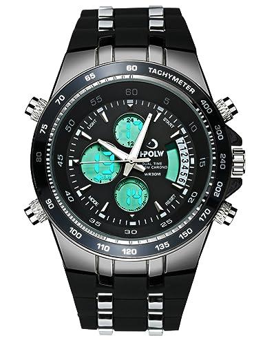 Relojes Hombres Negros Reloj Digital Impermeable Deportes Militar Análogo Hombres Relojes de Pulsera Cronógrafo Alarma Día Fecha LED Moda para Hombres: ...