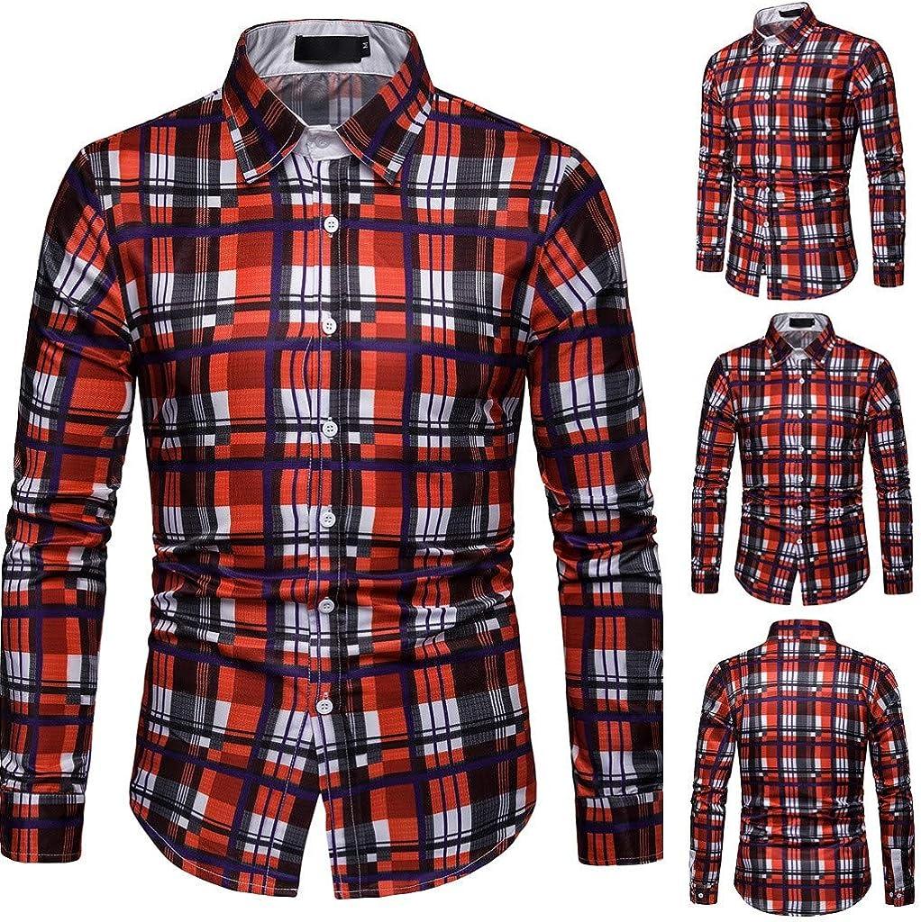 Camisa de Hombre, Internet_Camisa de Manga Larga con Estampado de Tela Escocesa Casual para Hombres de Negocios(Rojo M-3XL): Amazon.es: Ropa y accesorios