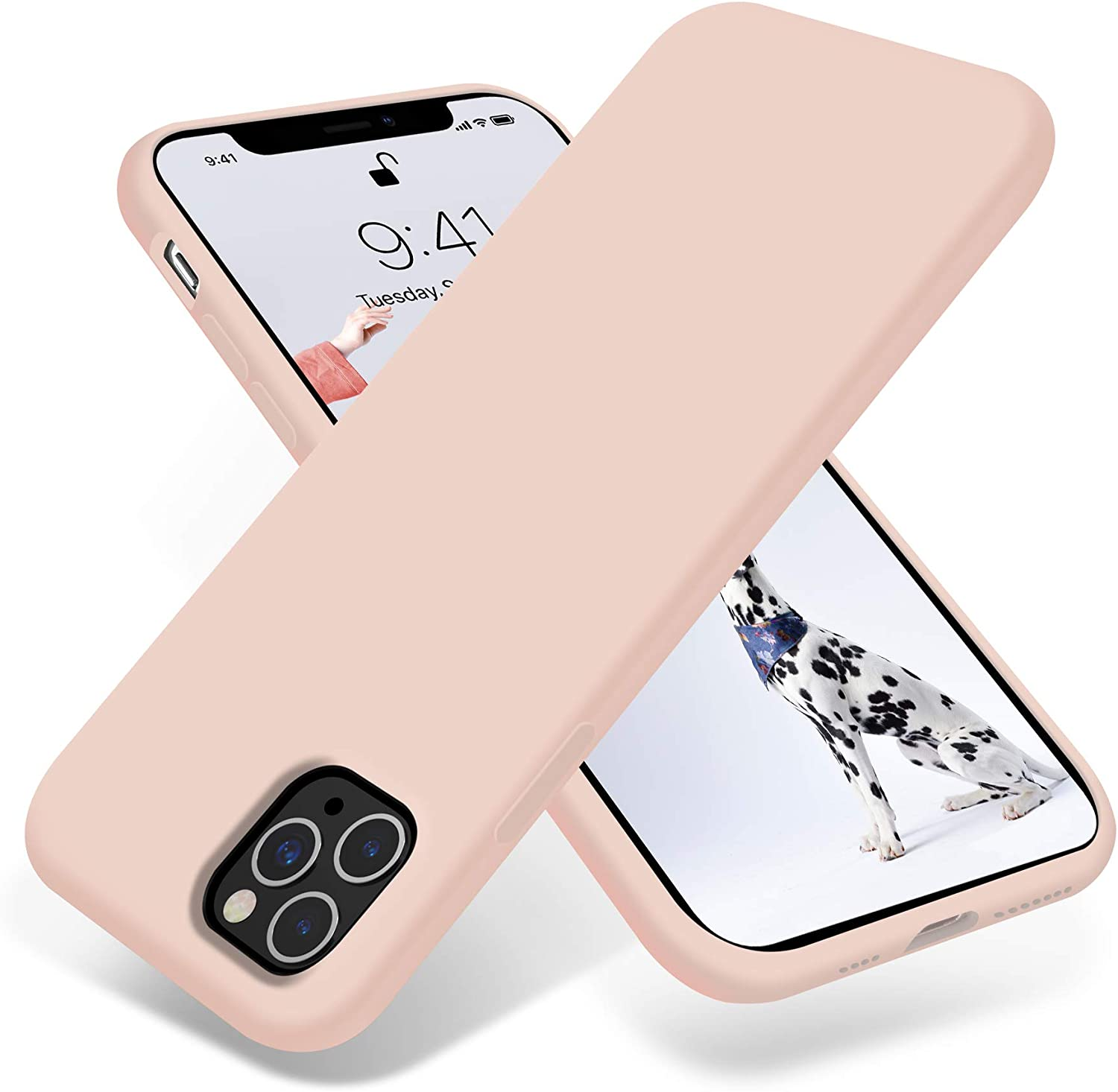 OTOFLY iPhone 11 Pro Max Case,Ultra Slim Fit iPhone Case Liquid Silicone Gel Cover with Full Body Protection Anti-Scratch Shockproof Case Compatible with iPhone 11 Pro Max (Pink)