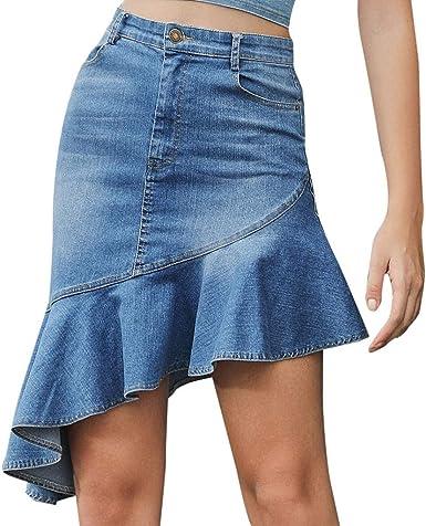 Faldas Vaqueras Mujer con Bolsillos Azul Fiesta Elegante Vintage ...