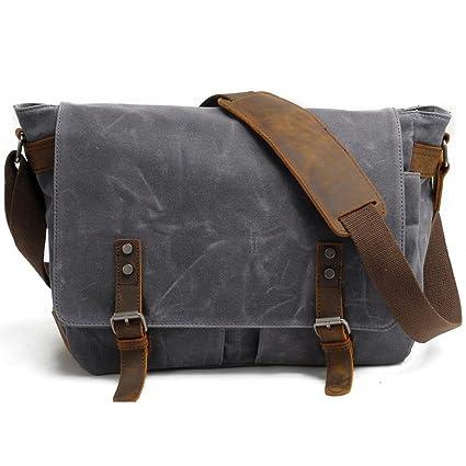 f385b795b8 Hakgy Unisexe Sacs Messenger Toile Cuir Bandoulière Voyage sacoche sac à bandoulière  pour ordinateurs portablesOrdinateurs portables de 14 pouces,gris: ...