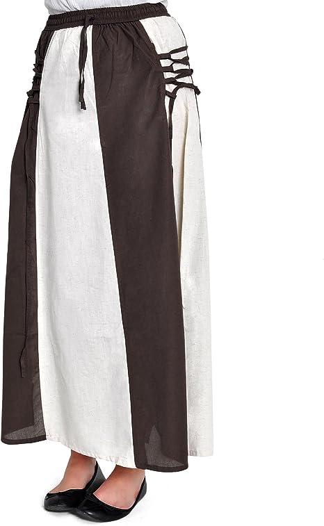 Falda medieval larga con cinturilla elástica de dos colores color ...