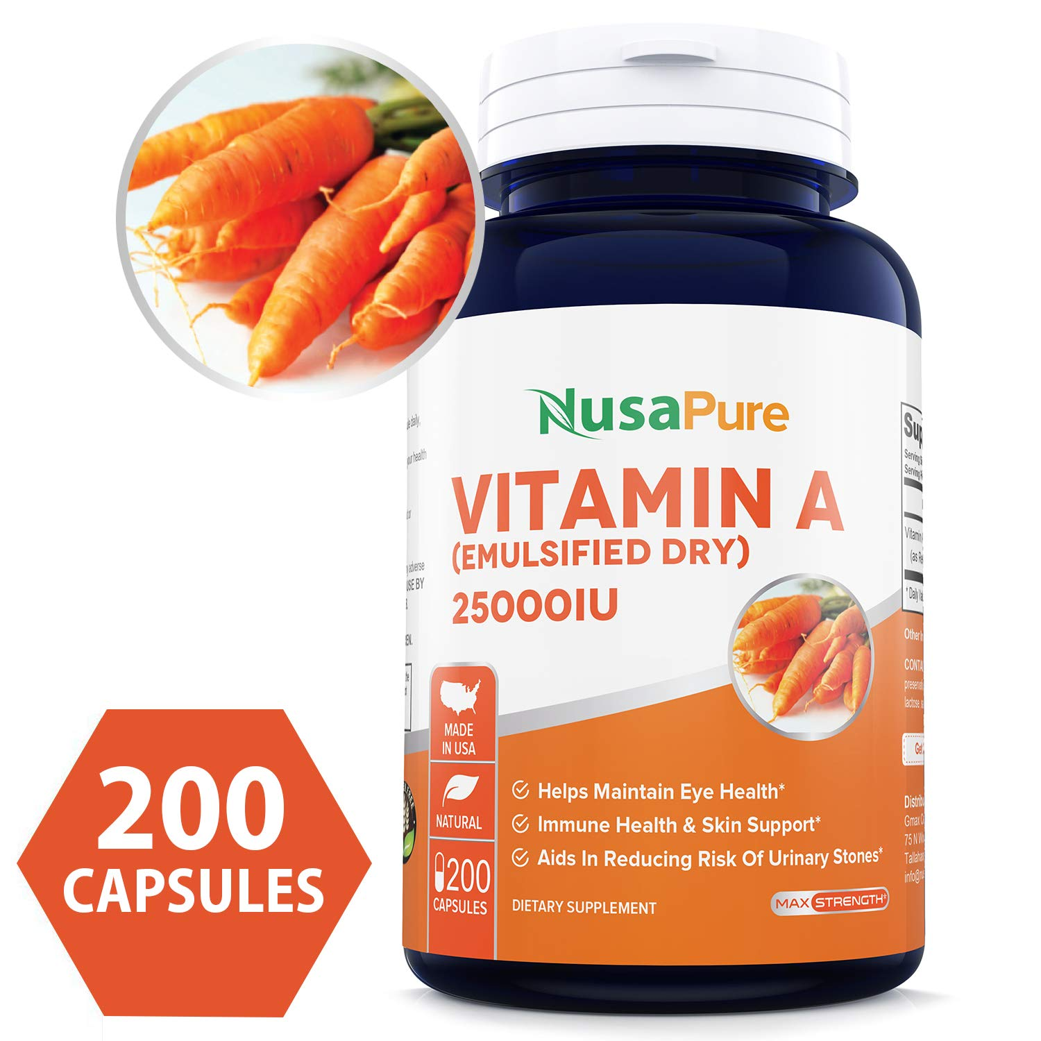 Vitamin A 25000IU Powder 200caps (Non-GMO & Gluten Free) Supports Vision, Growth, Reproductive Function, Immunity, Skin and Mucous Membranes by NusaPure