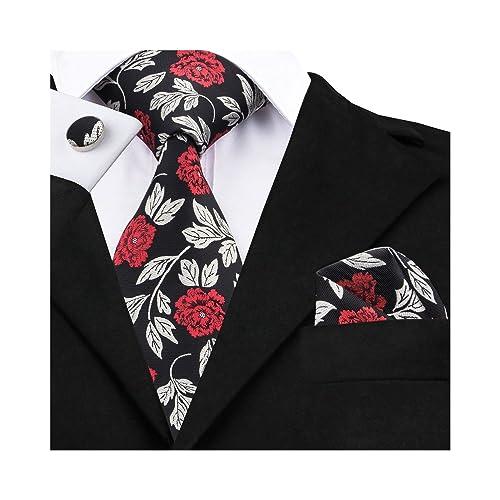 Barry.Wang Ties for Men Flower Tie Set Silk Handkerchief Cufflinks Wedding Party