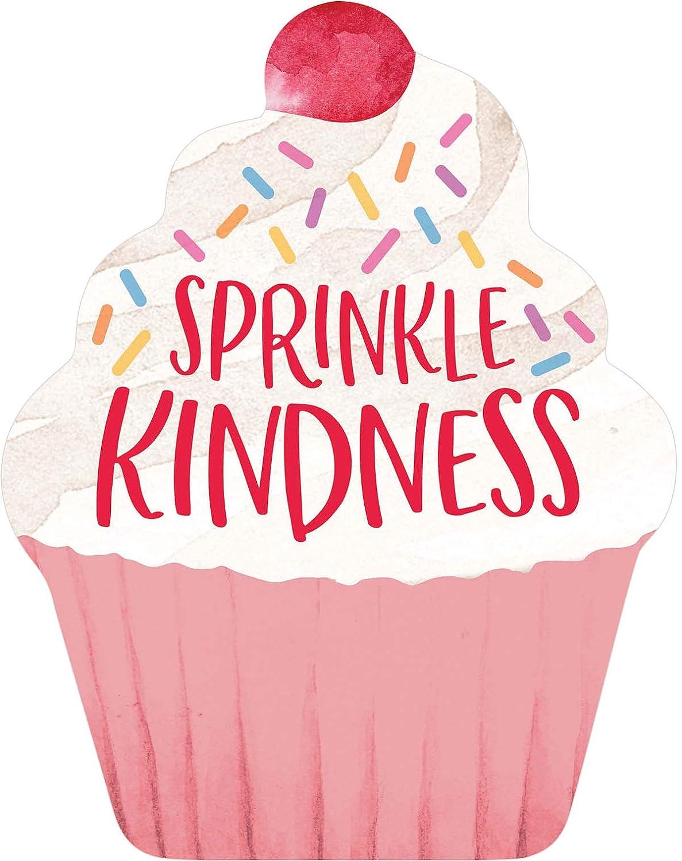 P. Graham Dunn Sprinkle Kindness Cupcake Pink Confetti 6 x 4.75 Wood Decorative Shape Sign