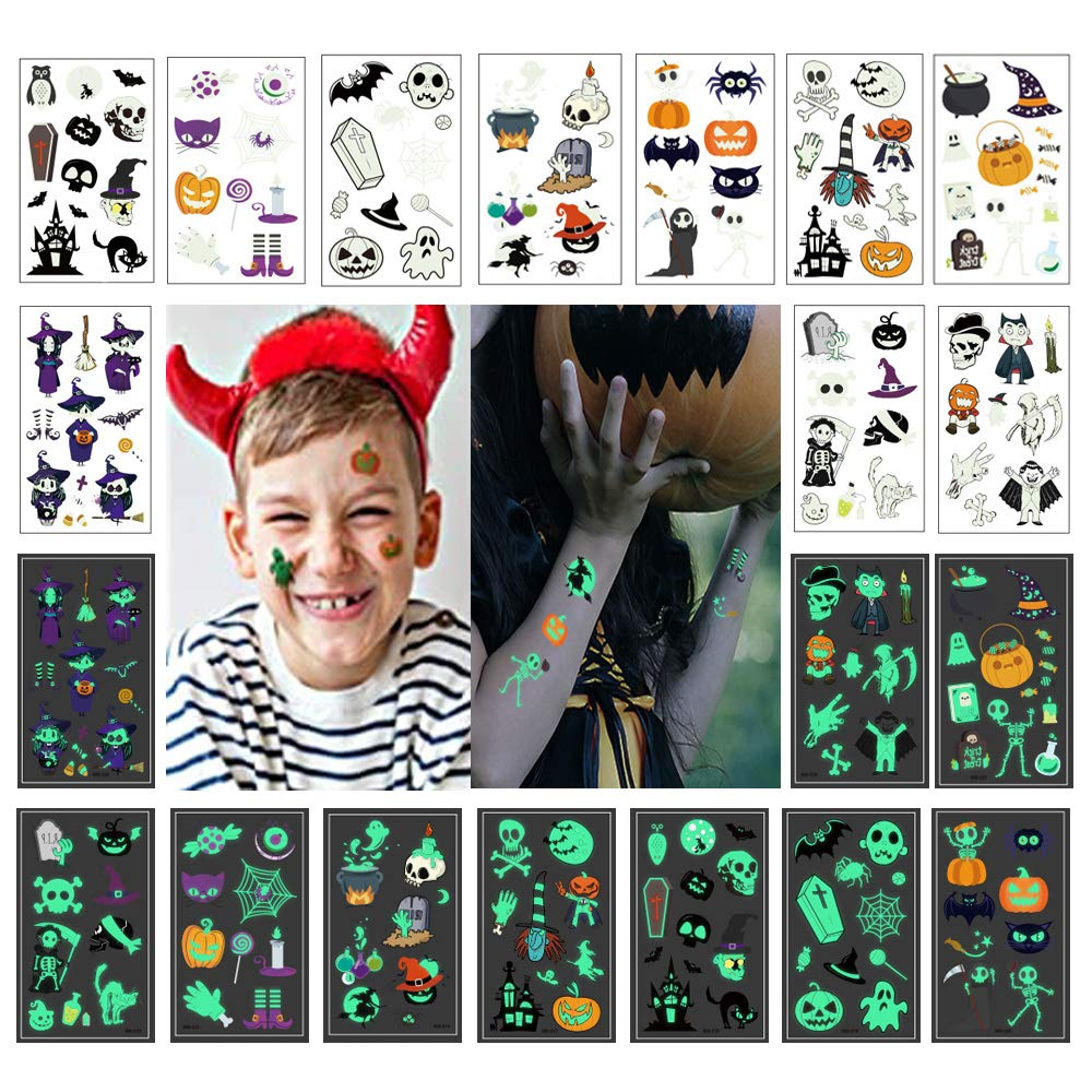 10 Sheets Temporary Tattoos for Adults Kids, Chrismas Stickers with Spider Skull Ghost Pumpkin, Multi Luminous Stickers for Party Favors