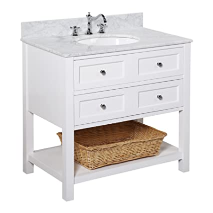 Superbe New Yorker 36 Inch Bathroom Vanity (Carrara/White): Italian Carrara Marble