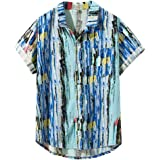 ♛2019 Clearance Sale♛ - Chamery Summer Shirt for MenMens Printed Hawaiian Loose Beachwear Short Sleeve Casual Buttons Shirt