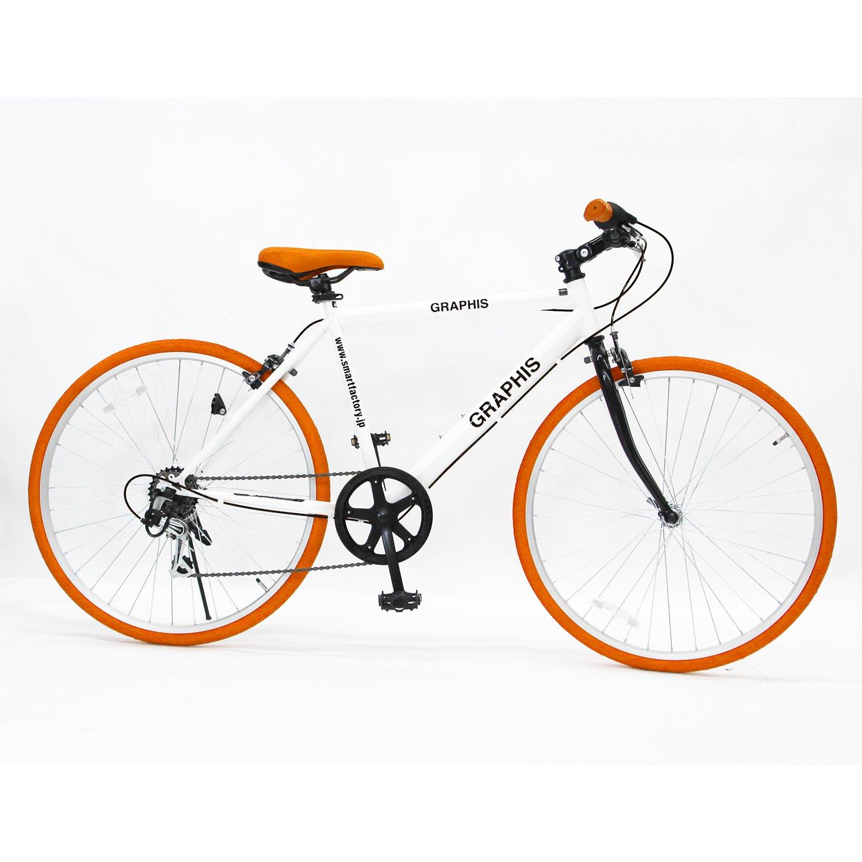 GRAPHIS(グラフィス) GR-001J クロスバイク 24インチ 6段変速 可動式ステム クイックレリーズ 9色 B00HVTIZG4ホワイト/オレンジ
