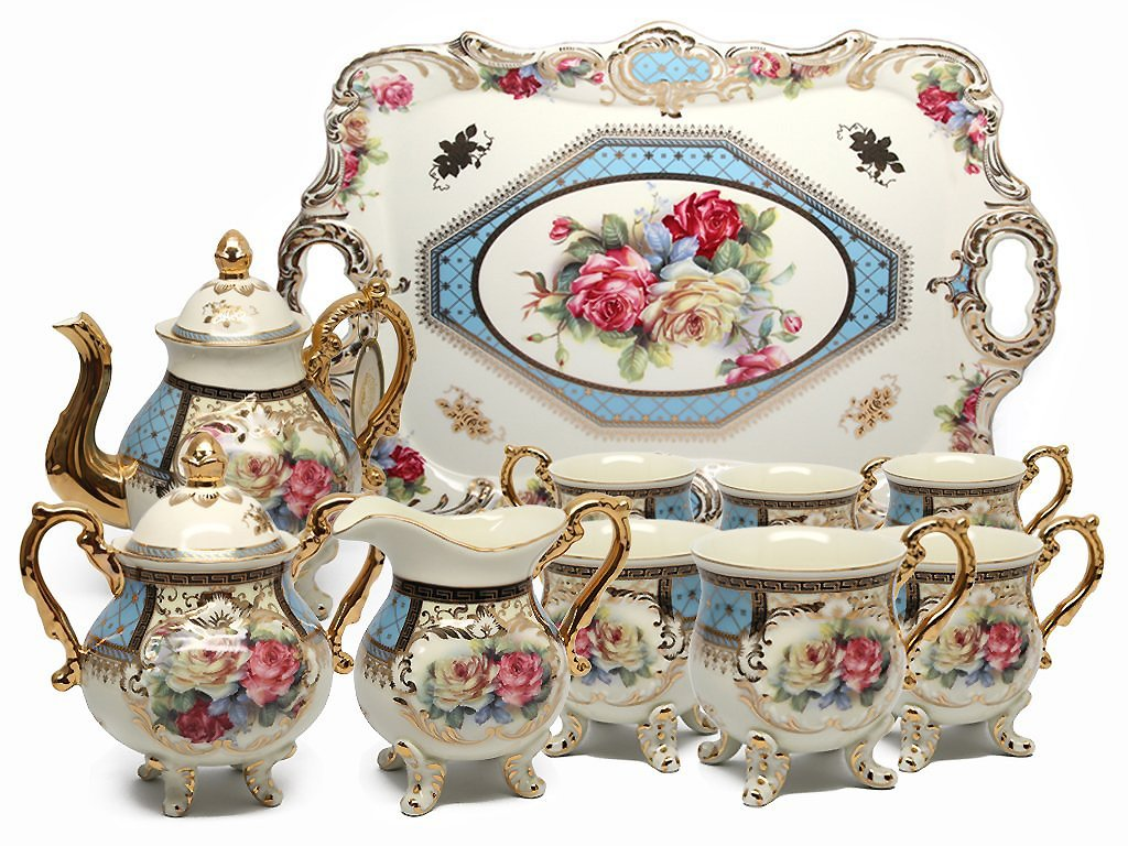 Royalty Porcelain 10-Piece Vintage Floral Dining Tea Cup SET, Service for 6, Handmade & Hand-painted, 24K Gold-plated
