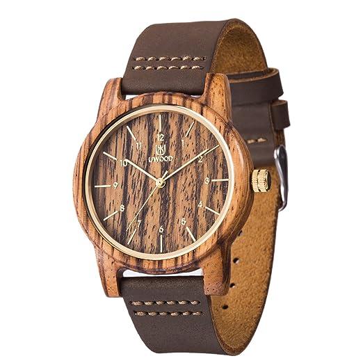 uwood negro reloj de madera de sándalo reloj Casual Fashion madera reloj hombres mujeres(Zebra